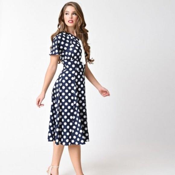 0d845050a04 Unique Vintage 1940s Blue   White Polka Dot Dress